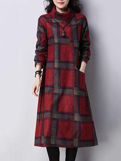 #BerryLook - #berrylook High Neck  Kangaroo Pocket  Checkered Maxi Dresses - AdoreWe.com
