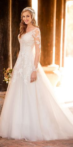 Stella York A-line Wedding Dress with Illusion Neckline style 6364 / http://www.deerpearlflowers.com/stella-york-fall-2016-wedding-dresses/2/