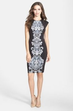Donna Morgan Print Scuba Knit Sheath Dress   Nordstrom