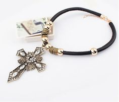 Exaggerated Cross Shield-Shaped  Necklace