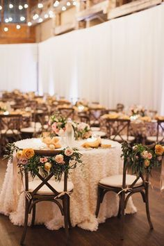 Sweetheart Table with Floral Chair Backs   Brides.com