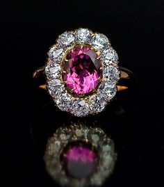 Tourmaline & Diamond Cluster Ring | Antique Rings - Antique Jewelry | Vintage Rings | Faberge Eggs
