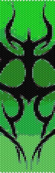 BPGT0003 Green Tribal Even Count Single Drop Peyote Cuff/Bracelet Pattern