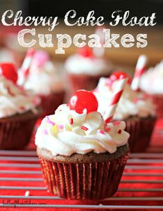 Cherry Coke Float Cupcakes - Belle of the Kitchen
