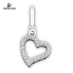 Swarovski Clear Crystal Jewelry LOVE Charm Red Reverse Side Rhodium #973756