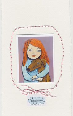 ACEO ,print, Mini prints, by Berlin Roses - featuring red head girl with greyhound. $2.80, via Etsy.