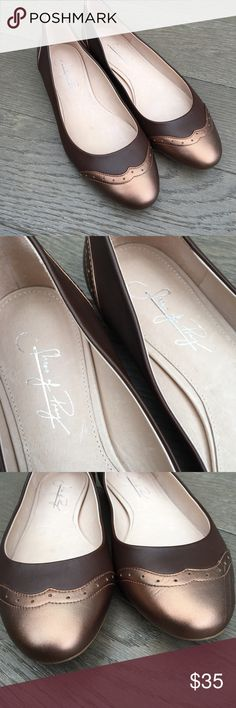 Shoes of Prey Ballet Flats Shoes Of Prey brown and bronze leather ballet flats. Preowned and have a scuff on the outside of the left shoe (as pictured) otherwise in great condition.  Size 8 Shoes of Prey Shoes Flats & Loafers