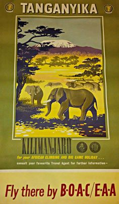 BOAC Travel Tanganyika Poster 1950s