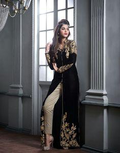 Black Velvet Pakistani Style Suit 65573