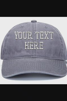 Shop Custom Embroidered Baseball Hat Personalized Adjustable Cowboy Cap Add Your Text - Retro Gray now save up 50% off, free shipping worldwide and free gift, Support wholesale quotation! Cool Baseball Caps, Baseball Hats, Cowboys Cap, Snapback Hats, Quotation, Free Gifts, Ads, Free Shipping, Gray