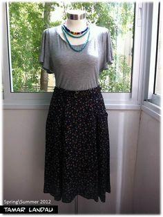 Woven midi fold skirt by Tamar Landau on #Etsy, $70.00