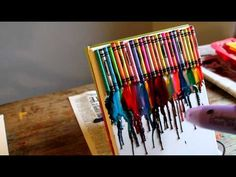 making melted crayon canvas art - YouTube