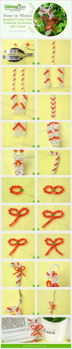 How to Make Beaded Candy Cane Christmas Ornaments with Crystal