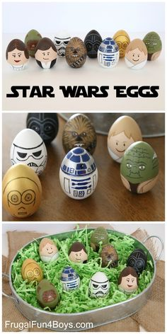 How to Make Star Wars Painted Easter Eggs - These are so adorable!  Luke, Han, C3PO, R2-D2, Darth, a Storm Trooper, an Ewok, Princess Leia, Chewbacca, and Yoda.