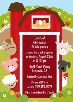 Farm Animals - Baby Shower Invitations