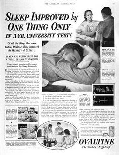 1938 Ovaltine original vintage advertisement. Photographed in black & white. Relates university experiments on how Ovaltine improved quality of sleep for both men and women.