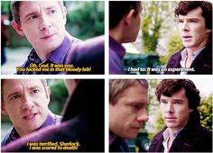 Sherlock looks sad when John looks away