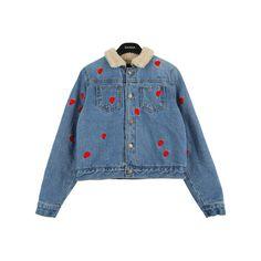 Lamb Fur Collared Denim Jacket w/ Heart Detail |... (290 BRL) ❤ liked on Polyvore featuring outerwear, jackets, tops, coats, fur collar jean jacket, blue jean jacket, blue jackets, denim jacket and fur collar denim jacket
