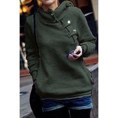 Side Pockets Design Long Sleeve Loose Women's Hoodie, GREEN, M in Sweatshirts & Hoodies   DressLily.com