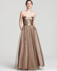 Aidan Mattox Strapless Gown - Sweetheart Mesh Skirt | Bloomingdale's