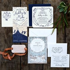 Custom-designed whimsical woodland-inspired wedding invitation suite, starting at $1,865 for 100 invitation suites, Shipwright & Co.