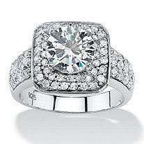2.74 TCW Round Cubic Zirconia Double Halo Ring in Platinum over Sterling Silver