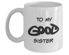 Funny Mug Puzzle Good or Evil Clever Guess What Witty Mug is Perfect Gift For Sister! #1 Ambigram Good Versus Evil Witty Mugs As Sister Gift