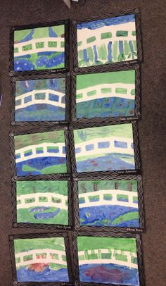 Week 4 - Monet Created by making a bridge shape out of masking tape first. Then the children painted over the top. When the paint was dry the masking tape was carefully pulled away.