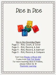 Double the dice, double the math fun! You can also double the learning with the free math dice recording pages. Add to your small groups and centers! Teacher Freebies, Classroom Freebies, Math Classroom, Kindergarten Math, Teaching Math, Teaching Ideas, Classroom Ideas, Preschool, Dice Games