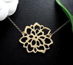 Dahlie Blüte füllen Goldkette zierliche Halskette von hotmixcold
