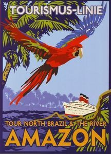 1920's Amazon North Brazil Cruise Liner Travel Poster