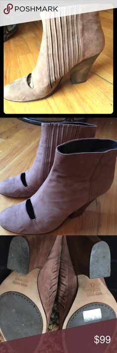 Soft calfskin designer booties with wooden heels Soft calfskin designer booties with wooden heels. Worn once or twice. Wooden heels in impeccable condition. Calfskin is a soft light brown. These were originally over $700. Zero + Maria Cornejo Shoes Ankle Boots & Booties