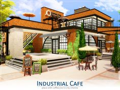 Industrial Cafe by Lhonna no CC - The Sims 4 Sims House Design, Home Room Design, Sims 4 Restaurant, Restaurant Ideas, Lotes The Sims 4, Sims 2, Sims 4 Kitchen, Sims Building, Casas The Sims 4