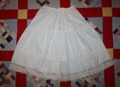 Victorian White Detailed Slip with Crocheted Lack and Tucks Late 1800s