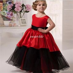 Lovely Black And Red Flower Girl Dresses for Wedding Ball Gown Tutu Crew Floor Length 2016 Cheap Little Girls Party Birthday Communion Gowns Online with $56.4/Piece on Sweet-life's Store   DHgate.com