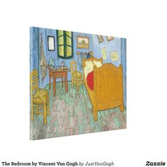 The Bedroom by Vincent Van Gogh #Canvas #Prints. High-resolution, #museum quality #reproduction on cotton-poly blend #gloss canvas, fade-resistant for 75 years or more. #VanGogh #bedroom #arles #painting #art #artwork #postimpressionism #impressionism #poster #print