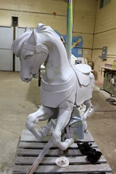 Antique Carousel horse being refurbished for Carousel Horses, Winter Months, Lion Sculpture, Seasons, Statue, Antiques, Fun, Animals, Antiquities