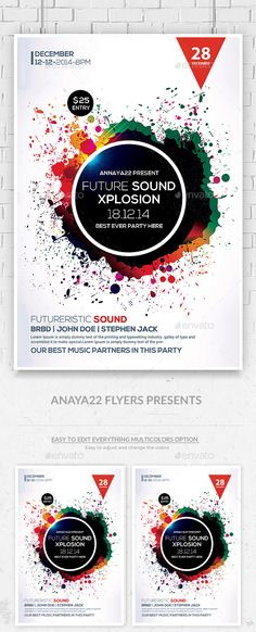 Color Sounds Flyer Poster Colours, Flyers and Event flyers - geometric flyer template