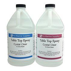 Epoxy Table Top Resin, 1:1, 1 Gallon Kit, Crystal Clear, Parts A & B Included Pro Marine Supplies Inc. http://www.amazon.com/dp/B00RDHIPOG/ref=cm_sw_r_pi_dp_9NSmvb15FCCF5