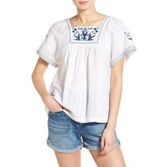 Madewell Embroidered Short Sleeve Peasant Top ($98) ❤ liked on Polyvore featuring tops, blouses, eyelet white, short sleeve blouse, short sleeve peasant top, white top, short sleeve tops and eyelet blouse