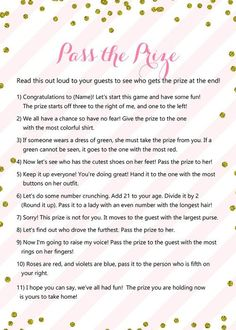 Pass the Prize, Pass the Parcel Game, Pink Gold Baby Shower Game Printable, Winter, Glitter Baby Sho - Party Ideen Girls Birthday Party Games, Girl Birthday, 13th Birthday Party Ideas For Teens, Birthday Games For Adults, Pajama Birthday Parties, Birthday Money, 12th Birthday, Husband Birthday, Birthday Bash