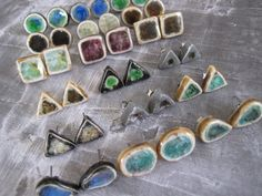 Aqua Brown TearDrop STUDS ceramic and glass by leandogpottery...make these into push pins or magnets
