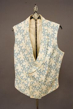 Man's blue and white Marseilles vest, French, c. 1830-1850.