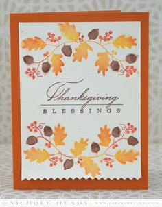 Thanksgiving Blessings Card ... elegant double font sentiment ... watercolor effect on oak branch swags ... Paper Trey Ink