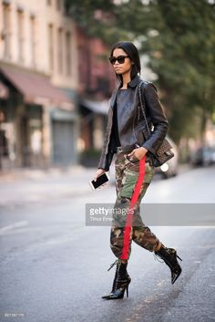 34118102cc Daiane Sodre seen wearing camouflage pants and a black Chanel bag seen in  the streets of