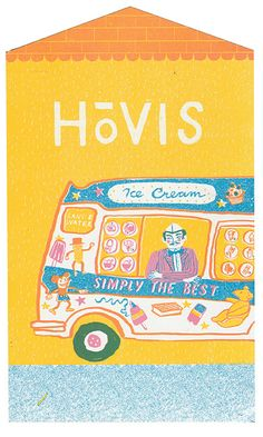 Ice Cream Van on a British High Street - Up My Street - Louise Lockhart | Illustration | Design | The Printed Peanut available to buy online at www.theprintedpeanut.co.uk