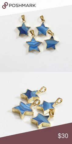 """COMING SOON- Blue Agate Star Necklace Beautiful Genuine blue agate in a gold plated setting. Chain is gold plated and lead and nickel free. Chain is 18"""" in length with a lobster clasp. Jewelry Necklaces"""