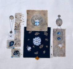 Analogous collage with textile techniques applied on 100% cotton canvas, embroidery, transfer, cyanotype and Japanese paper, eco-dyed fabrics. A mixed media piece. Inspired by time, by female cyclicality.