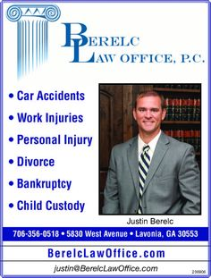 • Car Accidents  • Work Injuries  • Personal Injury  • Divorce  • Bankruptcy  • Child Cust... | Berelc Law Office, P.C. - Lavonia, GA #georgia #CorneliaGA #shoplocal #localGA