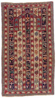 SHIRVAN PRAYER RUG East Caucasus, Circa 1880 Approximately 5 ft. 9 in. x 3 ft. 4 in. (175 cm. x 102 cm.)
